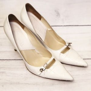 Dior White Pumps with D Charm